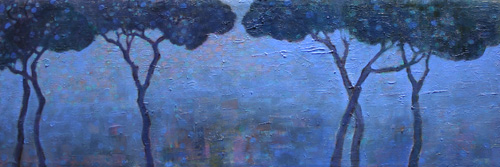 UNDER THE TREES II, oil on canvas, 30 x 90 cm, 2007