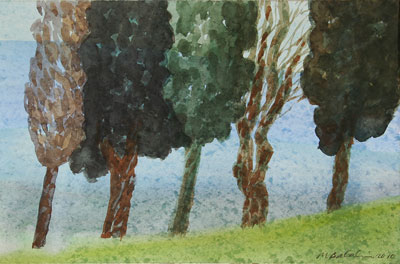 Cypress Hills, 2010, watercolour on paper, 34 x 53 cm