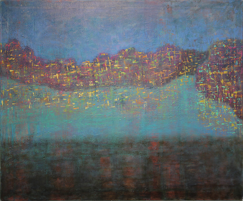 DARKNESS FALLS, LIGHTS TURNED ON, acrylic and oil on canvas, 96 x 116 cm, 2012
